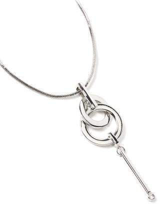 Penningtons Long Silver Necklace with Pendant