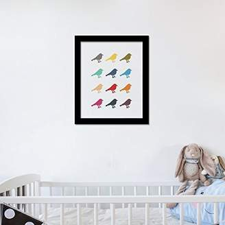 Camilla And Marc WALPLUS Com-CP052M 14-Birds Art Canvas Printing with FR030 Black Photo Frame, Vinyl, Multi-Colour, 40 x 30 x 2 cm