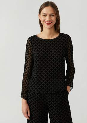 Emporio Armani Silk Blend Blouse With Diamond Pattern In Flocked Fabric