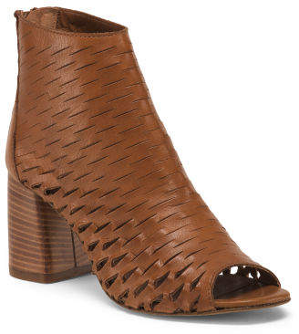 Made In Italy Peep Toe Leather Booties