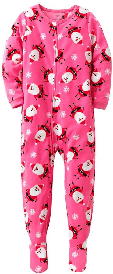 Carter's santa & snowflake fleece footed pajamas - girls