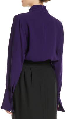 Marc Jacobs Gathered Mock-Neck Long-Sleeve Silk Blouse w/ Shoulder Pads