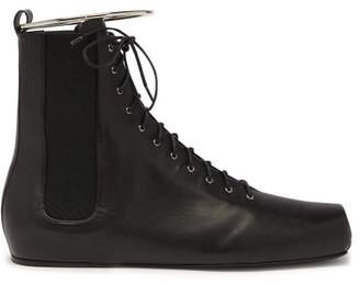 e511ab3aabac Jil Sander Combat Ring Detail Lace Up Leather Boots - Womens - Black