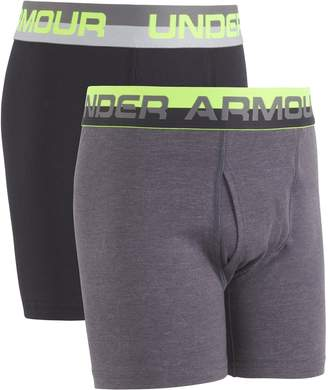 Under Armour Big Boys 2 Pack Solid Cotton Boxer Briefs