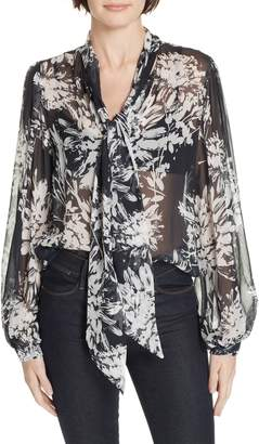 Equipment Cleone Tie Neck Sheer Floral Silk Blouse