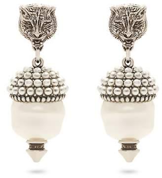 Gucci Feline Faux Pearl Clip On Earrings - Womens - Pearl