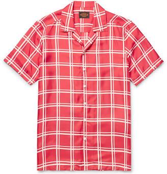 Tod's Camp-Collar Checked Silk-Twill Shirt