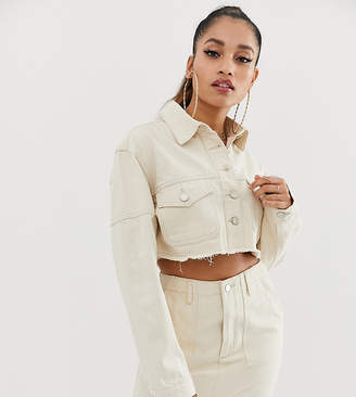 Missguided Petite co-ord cropped denim jacket in ecru