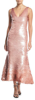 Oscar de la Renta Sleeveless V-Neck Sequined Cocktail Dress