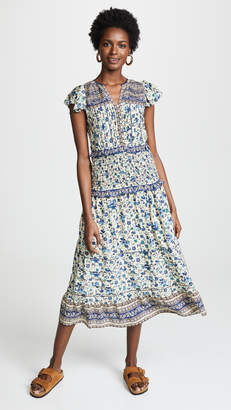 Sea Doe Print Smocked Midi Dress