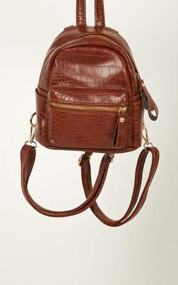 Showpo Abbee Backpack In Tan Croc Bags