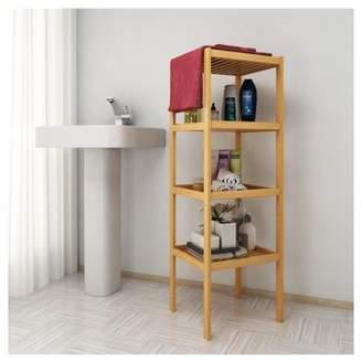 Unbrand Bamboo Bathroom Shelf 4-Tier Layered Multifunctional Storage Rack Shelving