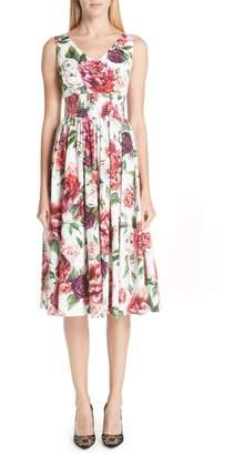 Dolce & Gabbana Peony Print Cotton Dress