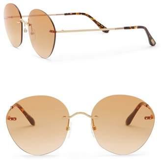 Toms Clara 55mm Rimless Round Sunglasses