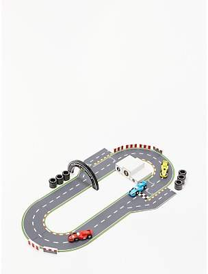 John Lewis & Partners Wooden Racing Car and Track Playset