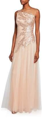Tadashi Shoji High-Neck Sleeveless Tulle Gown w/ Sequin Embellishment
