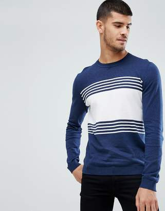 Asos DESIGN Striped Cotton Sweater In Navy