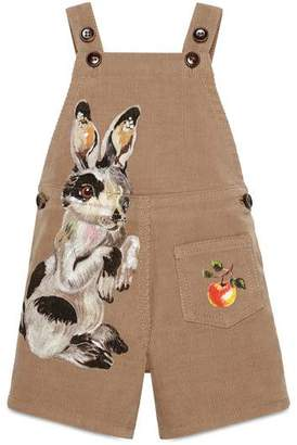 Gucci Baby corduroy overall with rabbit
