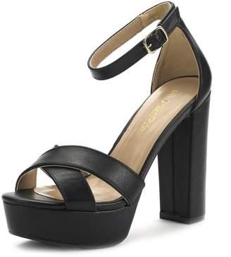 38bd0015839df DREAM PAIRS HI-GO New Women's Evening Dress Ankle Strap Buckle Peep Toe  Chunky High