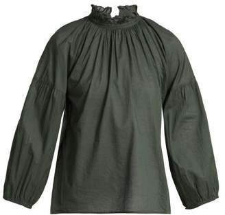 Apiece Apart Victoria Ruffled Neck Cotton Blouse - Womens - Khaki