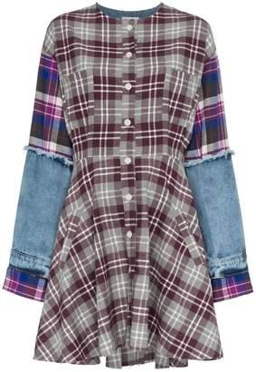 Natasha Zinko check print denim sleeve cotton mini dress