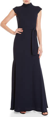 Monique Lhuillier Navy Belted Fitted Gown
