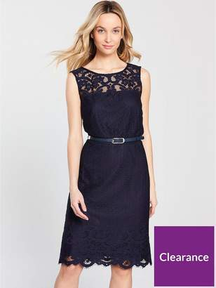 Wallis Belted Lace Shift Dress - Navy