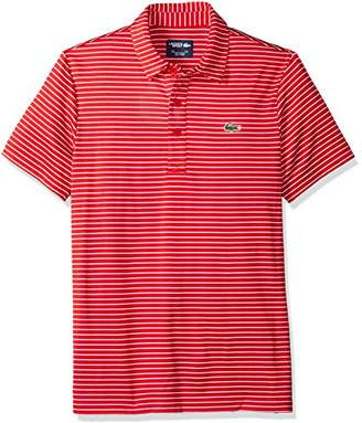 Lacoste Men's Short Sleeve Jersey Raye with Fine Stripes and Button Front Placket Polo
