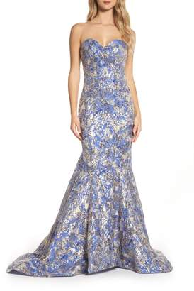 Mac Duggal Metallic Jacquard Mermaid Gown