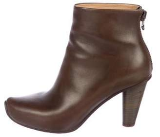 Acne Studios Leather Round-Toe Ankle Boots Brown Leather Round-Toe Ankle Boots