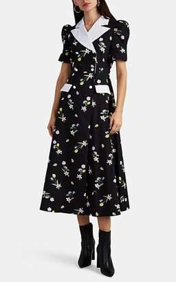 VIVETTA Women's Villaricca Peak-Lapel Floral Dress - Black