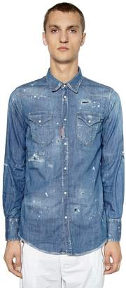 DSQUARED2 Distressed Stretch Denim Western Shirt