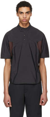 Kiko Kostadinov Grey and Burgundy Short Sleeve Charriere Shirt