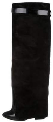 Givenchy Suede Knee-High Boots Black Suede Knee-High Boots