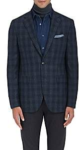 Boglioli Men's Plaid Wool Flannel Two-Button Sportcoat-Md. Blue