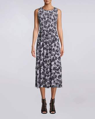 Nicole Miller Painted Flowers Smocked Midi Dress