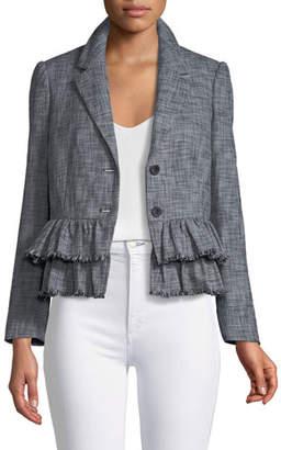 Rebecca Taylor Slub-Suiting Two-Button Jacket
