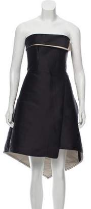 Halston Strapless High-Low Dress