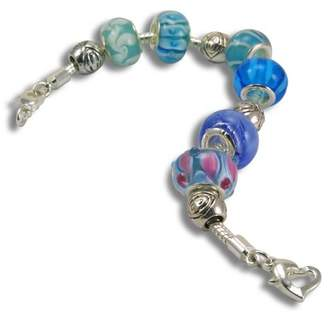 True Blue Balalabeads Beautiful Silver Plated 19.1cm Bracelet 'True Blue' Collection - with Six Handmade Lampwork Glass Beads and Four Metal Spacer Beads