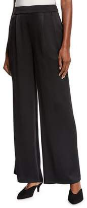 Eileen Fisher Silk Crepe Pleated-Waist Wide-Leg Pants