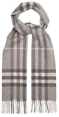Burberry Giant Check Cashmere Scarf - Womens - Grey