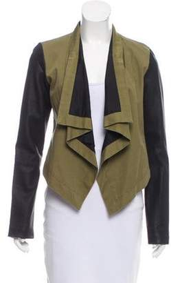 Patterson J. Kincaid PJK Leather-Accented Draped Jacket Olive PJK Leather-Accented Draped Jacket
