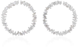 Suzanne Kalan Spiral Circle 18K White Gold Diamond Earrings