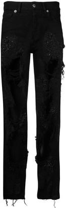 Almaz ripped lace jeans