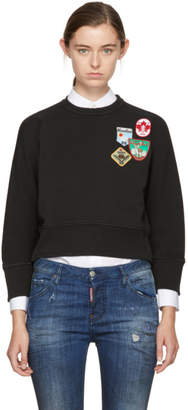 DSQUARED2 Black Cropped Patchwork Sweatshirt