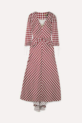 Hellessy Twisted Houndstooth Slub Satin Midi Dress - Claret