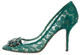Dolce & Gabbana Lace Jewel-Embellished Pumps