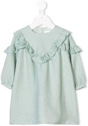 Chloé Kids metallic stripe ruffle trim dress