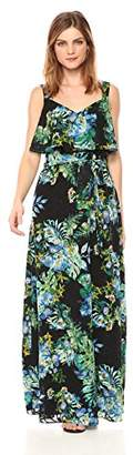 Adrianna Papell Women's Tropical Burn Out Printed Maxi, Black/Multi, 2