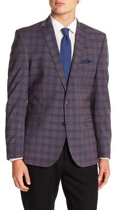 Nick Graham Blue & Grey Plaid Two Button Notch Lapel Trim Fit Sport Coat